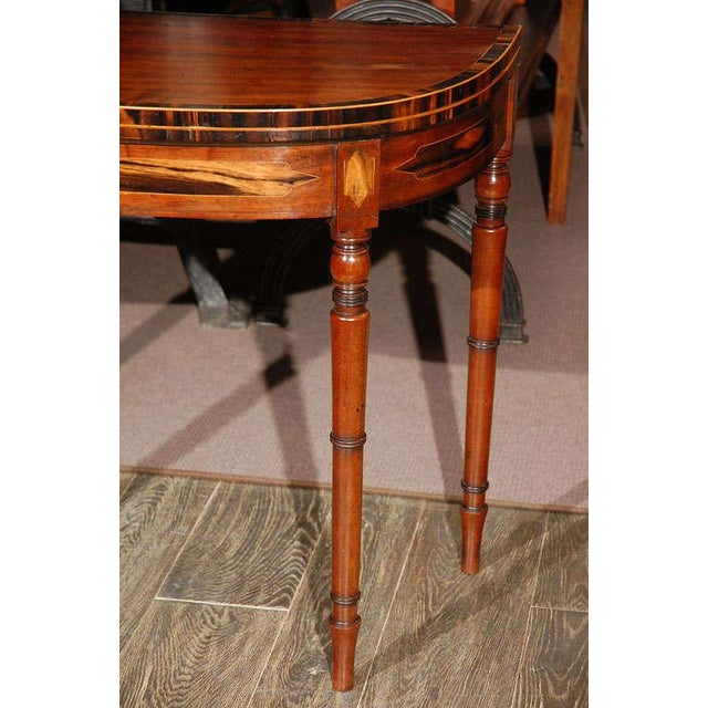 Mid 19th Century 1830s English Demilune Mahogany Game Table or Console For Sale - Image 5 of 13