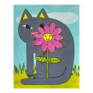 Contemporary Painting, Gray Cat With Pink Flower For Sale