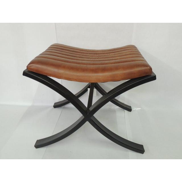 Brown Modern Polished Leather Footstool For Sale - Image 4 of 7