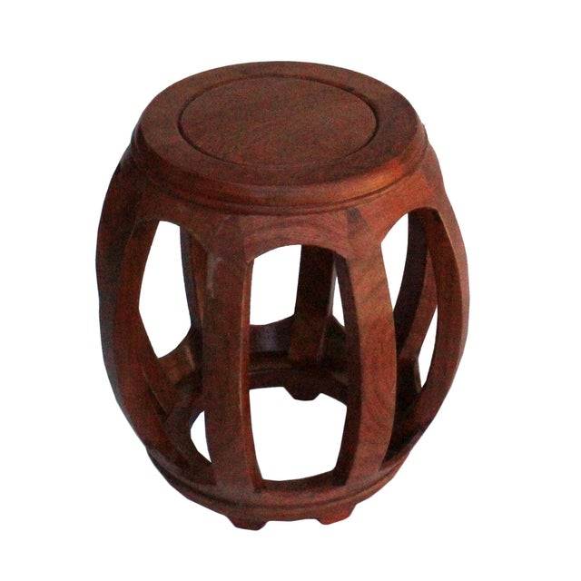 2010s Chinese Oriental Brown Stain Wood Curved Barrel Shape Stool For Sale - Image 5 of 8