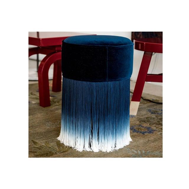 Moooi Blue Velvet Pouf With Fringe Moooi For Sale - Image 4 of 5