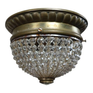 French Crystal Beaded Ceiling Fixture, Circa 1920s For Sale