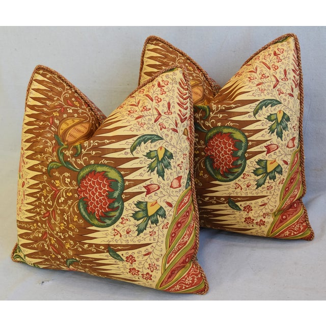 """Cotton French Pierre Frey La Riviere Feather/Down Pillows 21"""" Square - Pair For Sale - Image 7 of 12"""