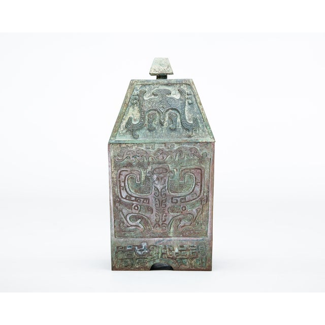20th Century Chinese Lawrence & Scott Verdigris Bronze Wine Box For Sale - Image 9 of 9