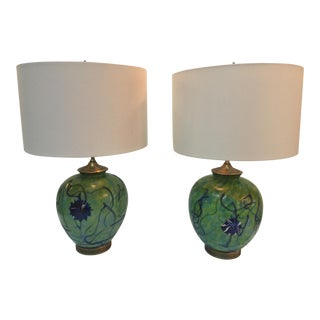 1920s Antique Iridized Green Pallme-Koenig Table Lamps - A Pair