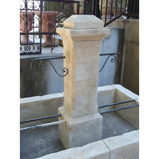Iron Rectangular 2 Spout Limestone Center Fountain From Provence For Sale - Image 7 of 10