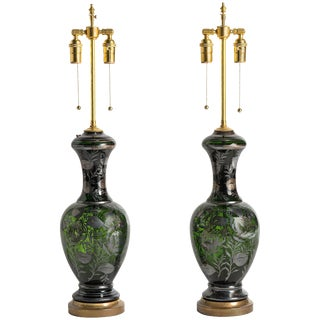 Pair of 1960s Green Murano Glass Lamps With Silver Leaf Overlay For Sale