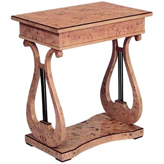 19th Century Swedish Biedermeier Birch Lyre End Table For Sale