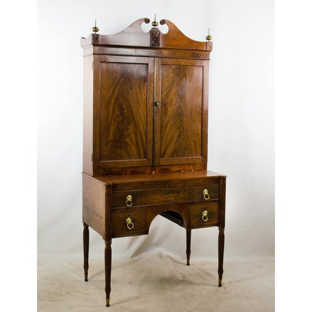 Your study will never feel the same in the grand presence of this early 19th c. Regency secretary clerk desk. Imagine...