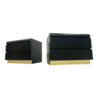 Restored Black Lacquered & Brass Side Tables - a Pair For Sale