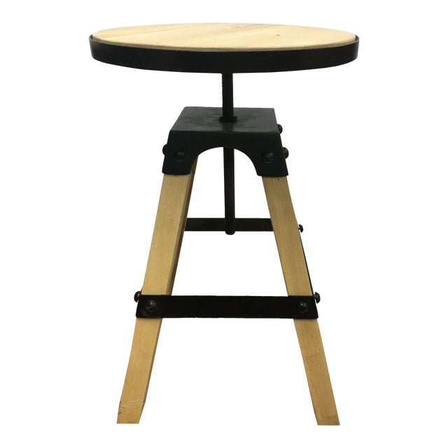 Noir Solid Wood & Black Steel Swivel Stool For Sale