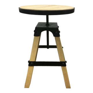Solid Wood & Black Steel Swivel Stool