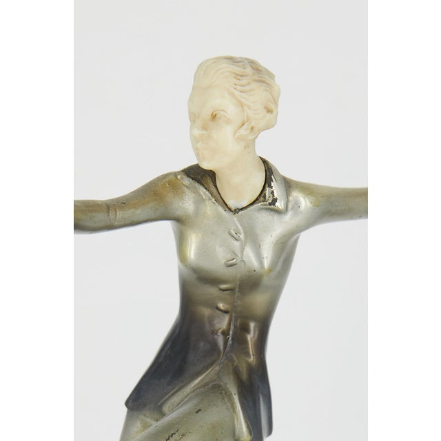 Early 20th Century Art Deco Cold-Painted Silvered Dancer Sculpture For Sale - Image 5 of 6