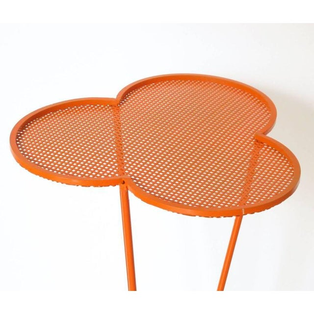 Mathieu Mategot 1950s Orange Perforated Metal Pedestal or Tall Side Table For Sale In Atlanta - Image 6 of 9