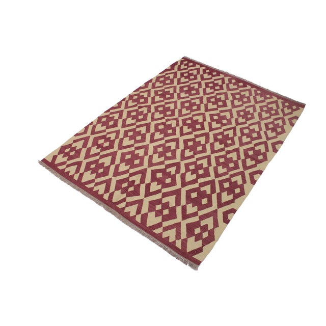 Contemporary Modern Abstract Kilim Anjelica Hand-Woven Wool Rug -5′11″ × 8′4″ For Sale - Image 3 of 8