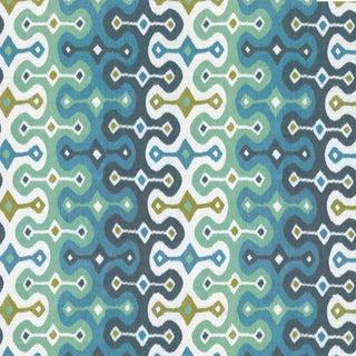 Sample - Schumacher X Martyn Lawrence Bullard Darya Ikat Sidewall Wallpaper in Sky For Sale