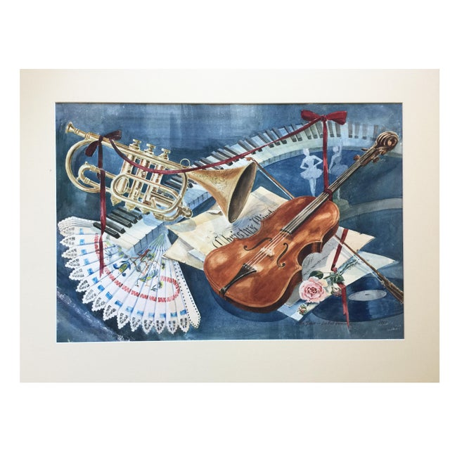 Vintage 1950's Watercolor Painting MusicViolin Trumpet Keyboards - Image 3 of 9