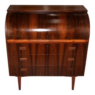 Danish Mid-Century Modern Rosewood Cylinder Desk C.1960s Made in Sweden by Ostergaard For Sale
