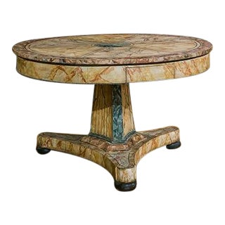 Italian Faux Painted Centre Table With Concaved Pedestal For Sale
