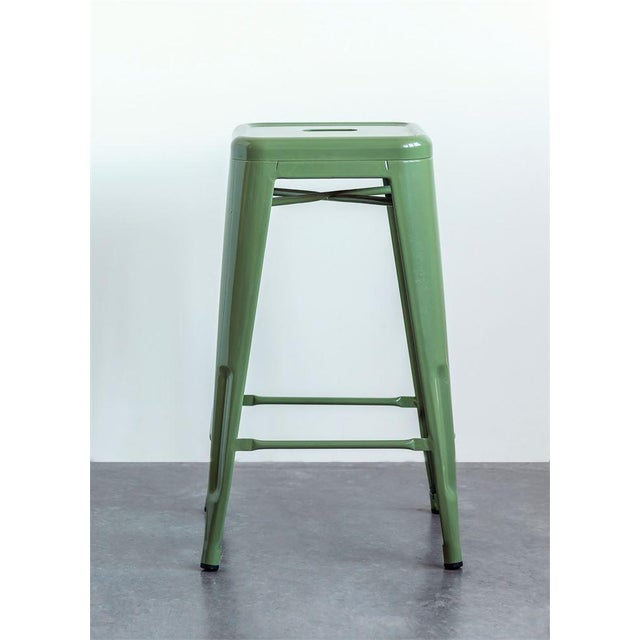 Not Yet Made - Made To Order Iconic Classic Green Metal Stool For Sale - Image 5 of 6
