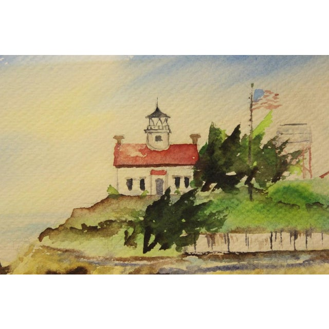 """Farmhouse """"Island Lighthouse, Watercolor Painting"""" For Sale - Image 3 of 3"""