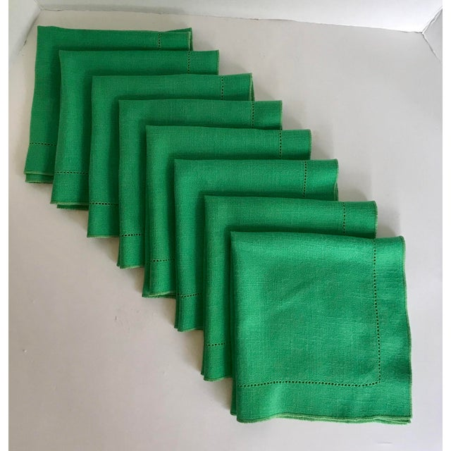 Such a gorgeous set of napkins in a spectacular kelly green! These (I believe) are a linen cotton since they are soft but...