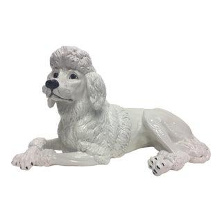 Italian Glazed White Terracotta Poodle Sculpture For Sale