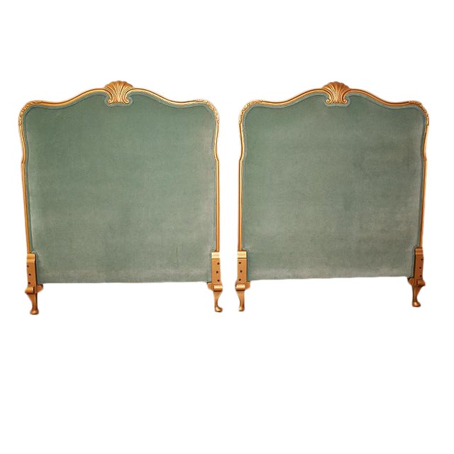 Gilt Wood Shell Motif Neoclassical Green Velvet Twin Upholstered Headboards - a Pair For Sale