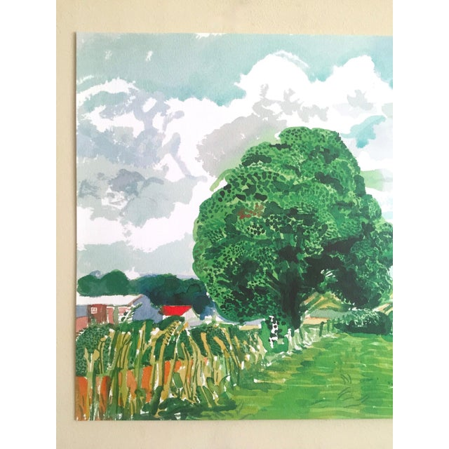 """Farmhouse David Hockney Fine Art Lithograph Print Midsummer : East Yorkshire Series """" Road and Tree Near Wetwang """" 2004 For Sale - Image 3 of 13"""