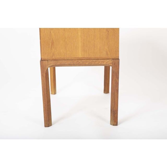 A great pair of minimal Oak night stands designed by Aksel Kjergaard. Danish circa 1960-70. H 20.5 in. x W 23.25 in. x D...