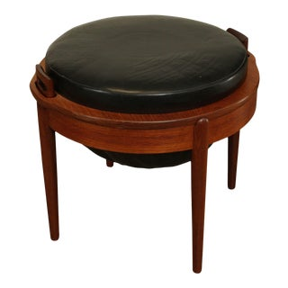 B. J. Hansen Vintage Scandinavian Teak Reversible Side Table, Stool For Sale