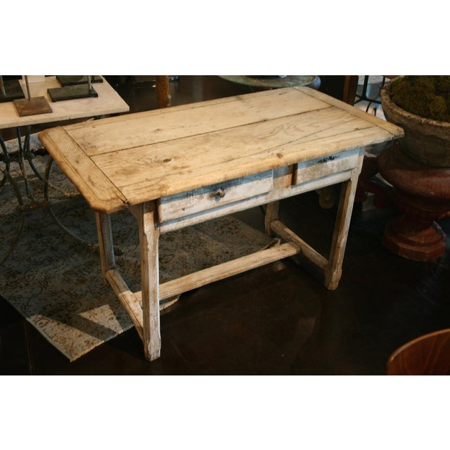 Beautiful 19th century French console/work table. Oak top has nice bread board ends, base with stretcher has two drawer...