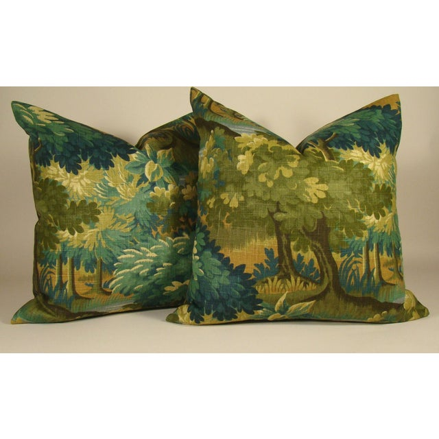 Silk Verdure Print Linen Pillow Cover For Sale - Image 7 of 8
