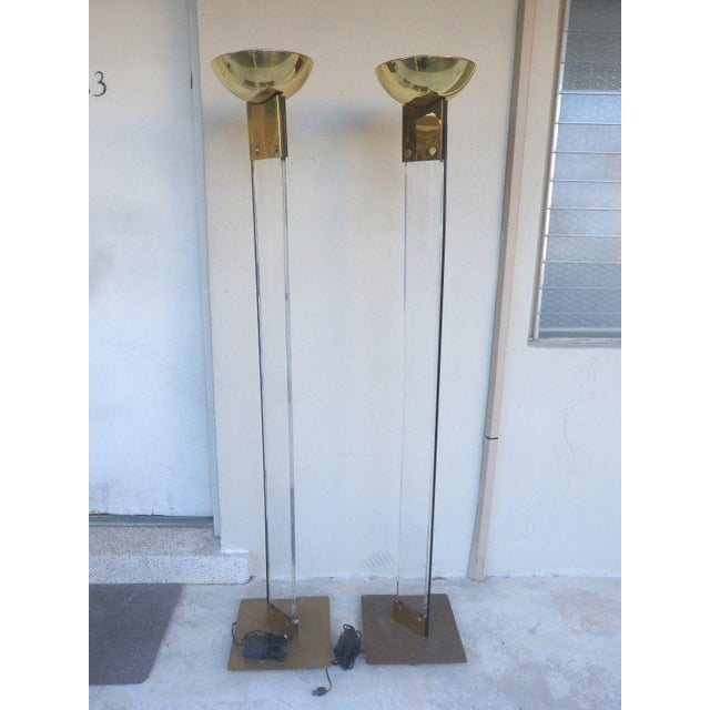 1970s Italian Architectural Skyscraper Lucite and Brass Floor Lamps - a Pair For Sale - Image 9 of 9