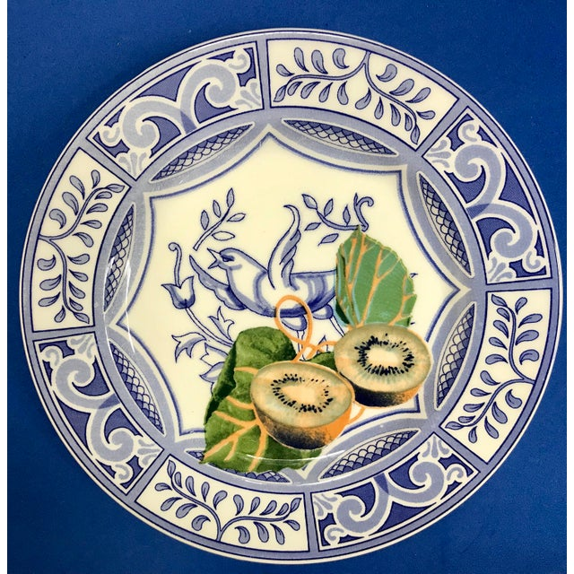 Blue Bird Salad Plates Made in Italy Blue/White With Fruit - Set of 4 For Sale - Image 4 of 9