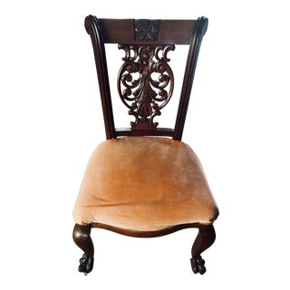 Early Victorian Era Carved Side Chair For Sale