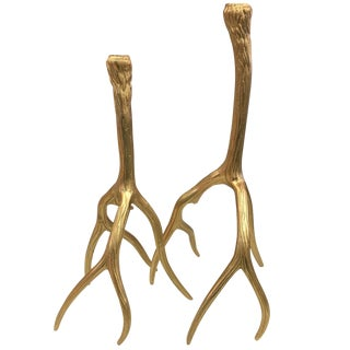 Gold Stag Antler Candle Holders - A Pair