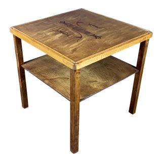 1930s Scandinavian Square Table in Birch With Intarsia For Sale