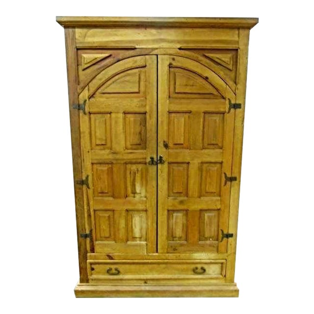 Antique Iron Hardware & Pine Armoire - Image 1 of 10