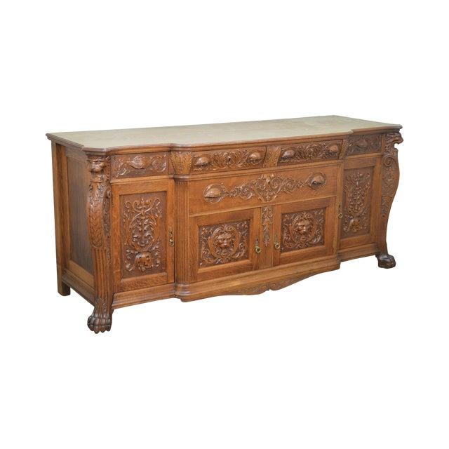 Horner Antique Lion Carved Large Oak Sideboard For Sale