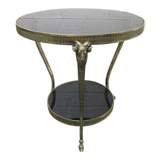 Maison Jansen Style Brass Ram's Head Gueridon or Side Table For Sale