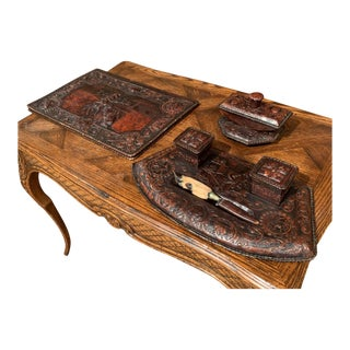 19th Century French Gothic Embossed Leather Five-Piece Desk Set For Sale