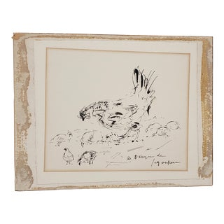 "Andre Dunoyer De Segonzac (French, 1884-1974) ""Chickens"" Pen & Ink Drawing C.1930's For Sale"
