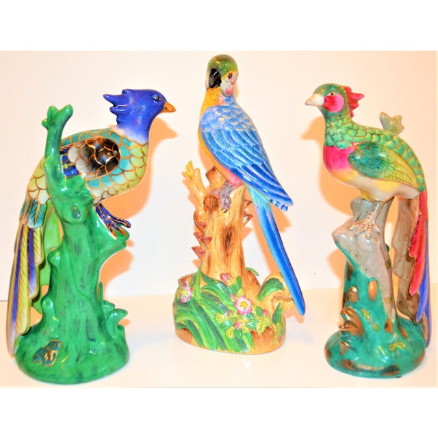 (Final Markdown) 1970s Vintage Majolica Parakeet & Pheonix Figurines - Set of 3 For Sale - Image 9 of 12
