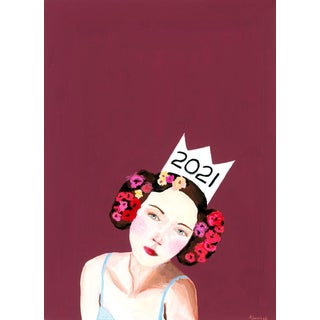 """Contemporary """"Baroque Portrait of a Lady Wearing a 2021 Paper Crown"""" Gouache Painting by Alexandra Swistak For Sale"""