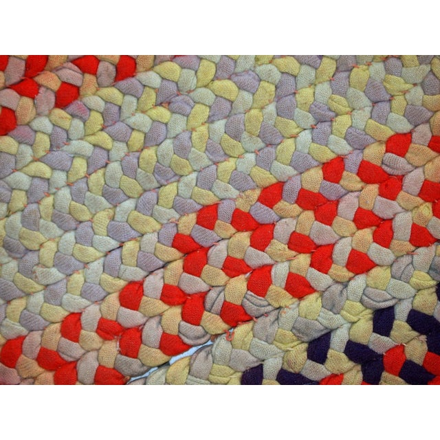 """1930s Handmade Antique American Braided Rug - 1'3"""" x 2'4"""" For Sale - Image 9 of 10"""