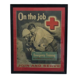 "1940s Vintage ""On the Job"" Framed & Matted Red Cross Print For Sale"