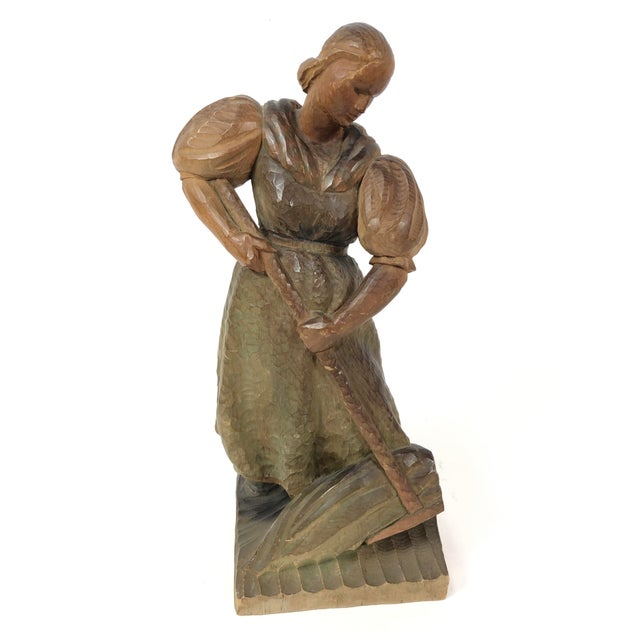 Wood Art Deco Carved Wood Sculpture of Woman With Rake For Sale - Image 7 of 7