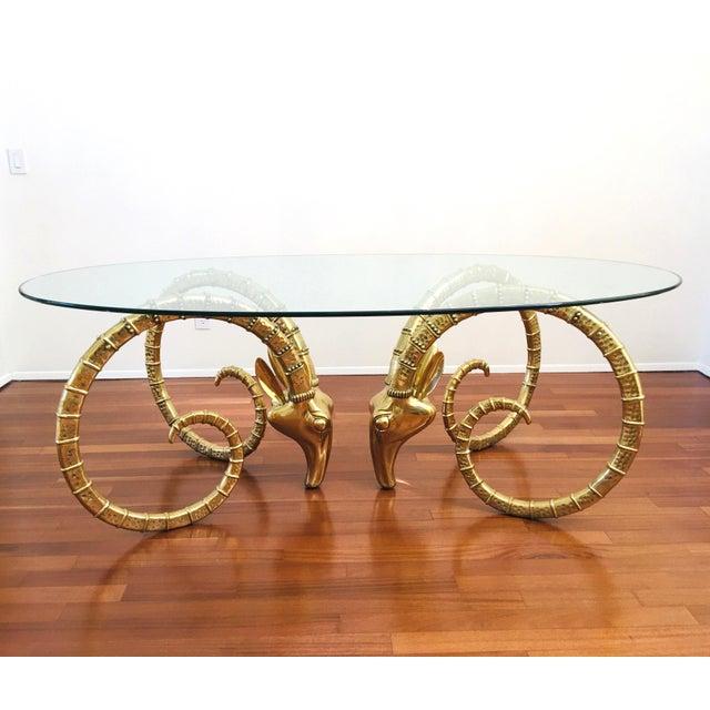 Vintage Brass Ram's Head / Gazelle Alain Chervet Style Hollywood Regency Dining Table For Sale - Image 13 of 13