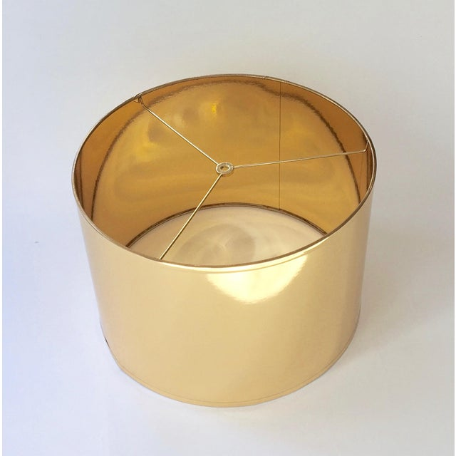 """Made to Order - 1-2 week lead time High Gloss Gold Drum Lamp Shade with Gold Lining Individually hand-made Size: 16""""..."""